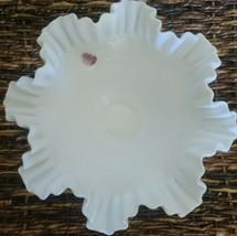 Vintage Fenton ~ Basket Bowl ~ White Milk Glass ~ Hobnail ~ Ruffled Edges - $79.20
