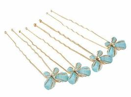 4 Pieces Elegant Hair Pins Butterfly Style Hair Accessories, Blue