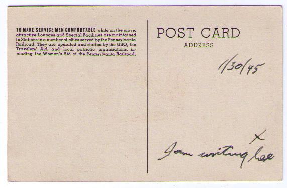 Vintage World War II Postcard USO Pennsylvania Railroad