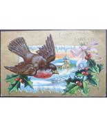 Bamforth & Co, Embossed, divided back, gold gilded postcard, Christmas G... - $6.00