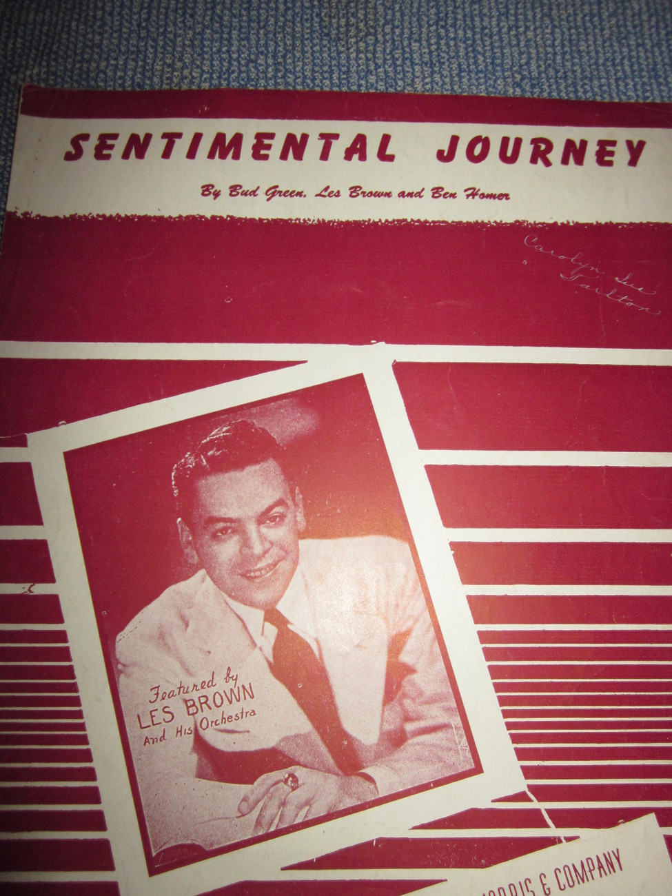 Vintage Sheet Music Sentimental Journey 1944 Les Brown