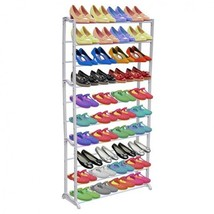 Shoe Rack Organizer 10 Tiers 40 Pairs Capacity Compact Size Space Saver ... - $28.40