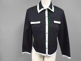 ST. JOHN SPORT Navy Blue Cotton Blend Button Down Casual Blazer Jacket S... - $84.14