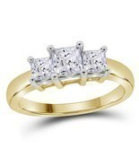 14k Yellow Gold Princess Diamond 3-stone Bridal Wedding Engagement Ring ... - €1.115,82 EUR