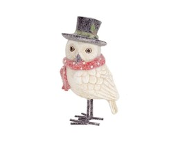 "Melrose 8"" Frosted White Owl with Red Scarf and Top Hat Christmas Decora... - $19.59"