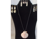Nautical Scallop Seashell Adjustable Necklace and 4 Pair of Earrings Handcrafted