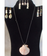 Nautical Scallop Seashell Adjustable Necklace and 4 Pair of Earrings Han... - $19.99