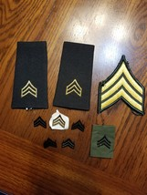 Military Pathces And Pins, E5 Pin On Rank, E5 Sgt Rank Shoulder Insignia, E5 Sgt - $7.00