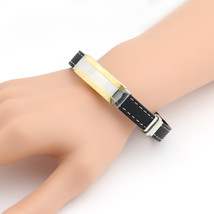 UNITED ELEGANCE Unisex Two Tone Stainless Steel & Leather Bracelet - $11.99