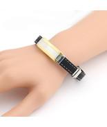 UNITED ELEGANCE Unisex Two Tone Stainless Steel & Leather Bracelet - $11.99