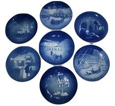 Bing & Grondahl B&G Set of 7 Blue & Wht Christmas 1970's Collector Plates - $54.00