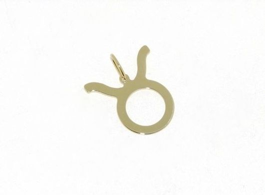 18K YELLOW GOLD ZODIAC SIGN PENDANT, ZODIACAL FLAT CHARM, TAURUS, MADE IN ITALY
