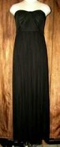 Davids Bridal Black Chiffon Long Flowy Strapless Gown Dress Size 6 Forma... - $37.62