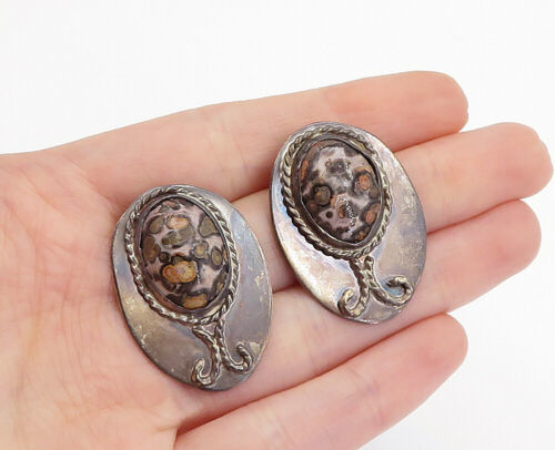 Primary image for JSC 925 Sterling Silver - Vintage Cabochon Spotted Jasper Drop Earrings - E9331