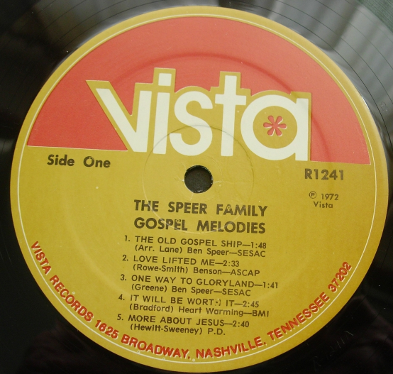 The Speer Family - Gospel Melodies - Vista Records - R 1241