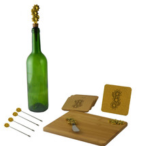 Wine & Cheese 11-pc Charcuterie Cutting Board Set Gold Flower Handles - $27.83