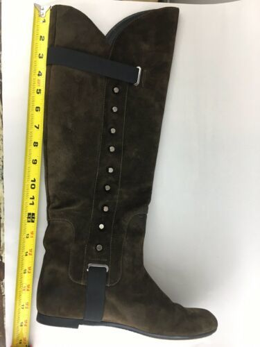 Vicini Tapeet Studded Knee Boots Brown Suede Italy 37 image 9