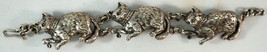 Unique Sterling Silver Bracelet 3 Playful Cats Intricate Details - $195.00
