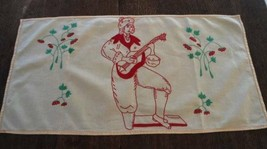 Vintage Yellow Red Embroidered Table Runner  Scarf Italian Musician Stra... - $15.79