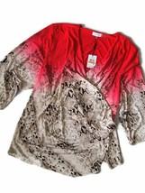 Womens Calvin Klein 3/4 Sleeve Wrap Snake Shirt Top Plus Size 1X - $42.03