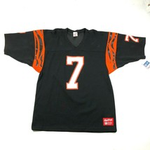 Vintage 90s Cincinnati Bengals #7 Boomer Esiason Mens XL Fire Black Jersey - $233.75