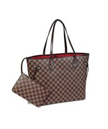 Daisy Rose Checkered Tote Shoulder Bag with inner pouch - PU Vegan Leath... - $57.81