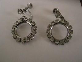SCREW BACK EARRINGS circle of clear  RHINESTONES DANGLING - $2.96