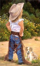 Boss Lady by June Dudley Puppy & LIl' Cowgirl Signed Canvas Giclee Print 22x15 - $276.21