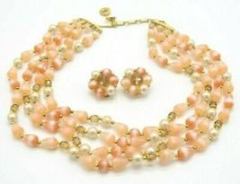 LISNER Pink Acrylic Faux Pearl Bead Beaded Choker Necklace Earring Set V... - $39.59