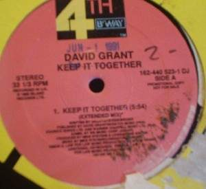 "David Grant - Keep It Together - 4th & B'Way Records 162-440 - 12"" Single Promo"