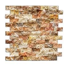Scabos 1 X 2 Split-Faced Travertine Brick Mosaic Tile - 6 X 6 Sample