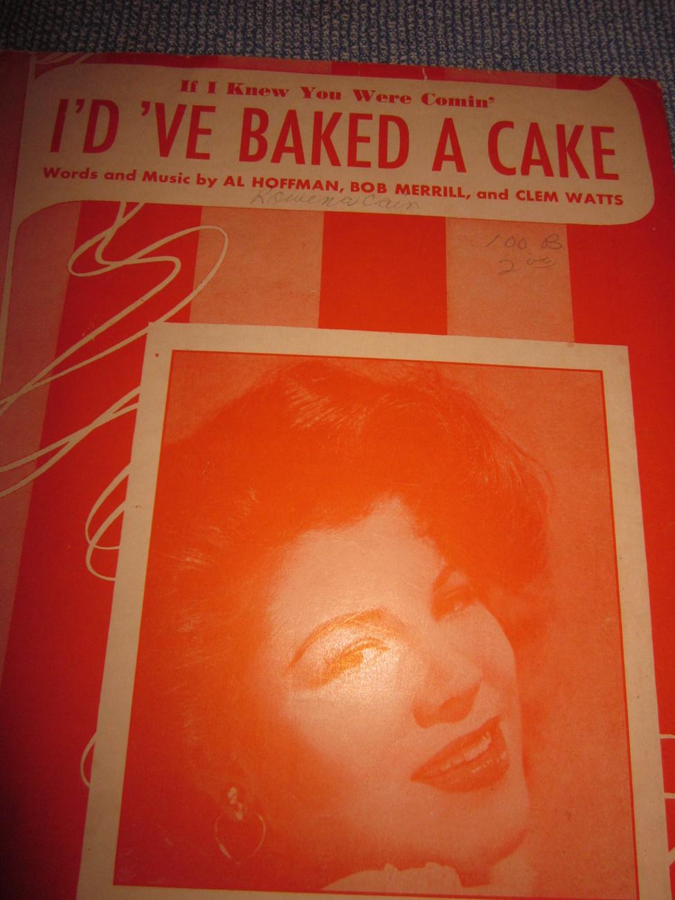Vintage Sheet Music Id've Baked A Cake - Eileen Barton 1950