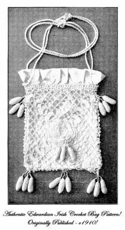 1910  Purse Pattern IRISH CROCHET Crocheted Bag Pattern Crochet Handbag Reenact
