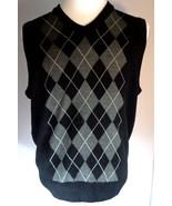 Dockers Men's Slim Fit V-Neck Sweater Vest Size L Black Gray Argyle - $31.11