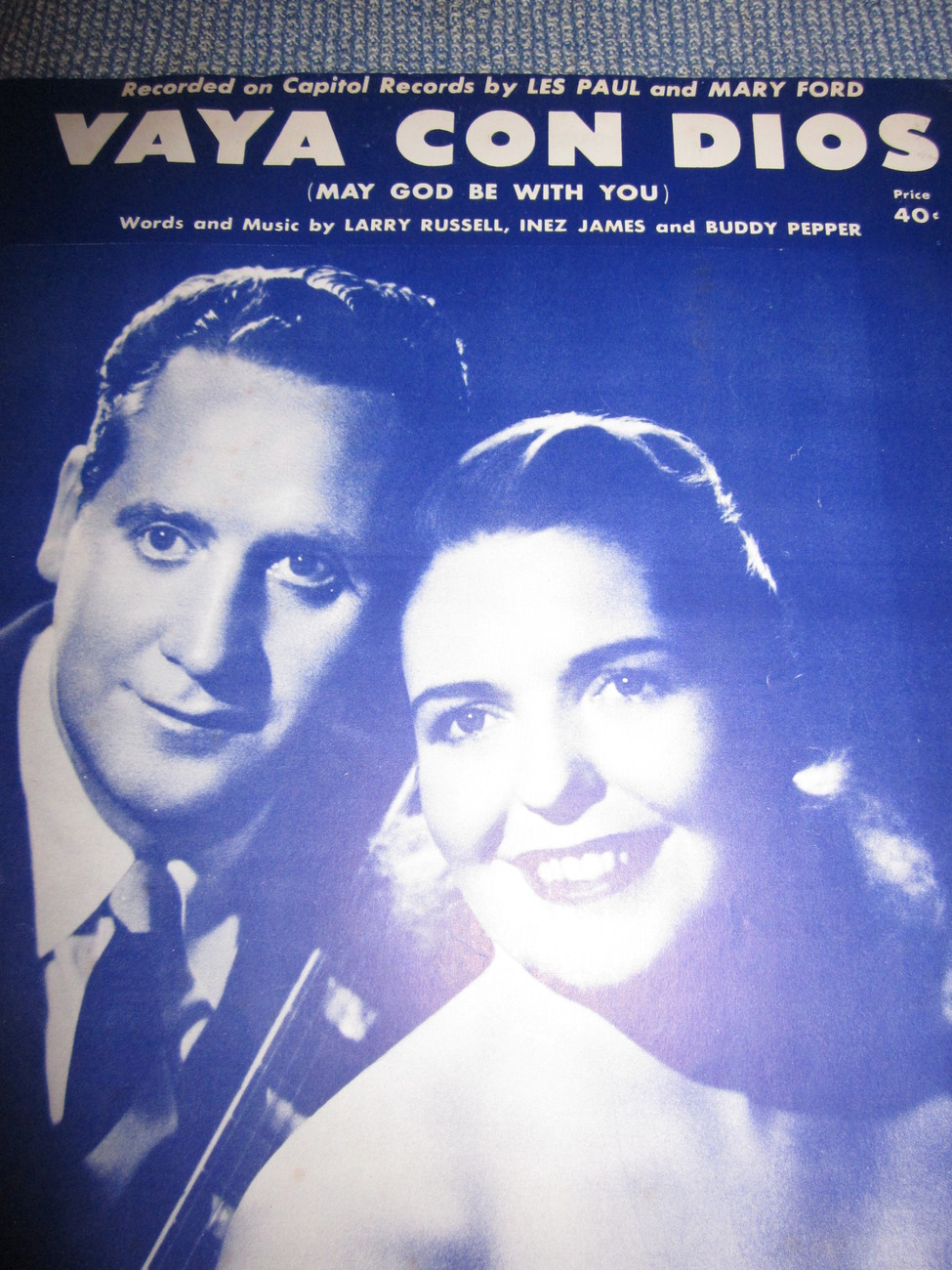 Vintage Sheet Music Vaya Con Dios - Les Paul and Mary Ford