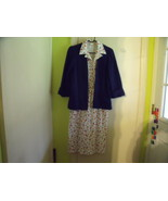 Blue and Red Print on White Sleeveless Dress with Navy Jacket Size 10 pe... - $20.00