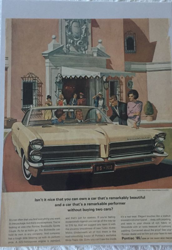 Primary image for Vintage 1965 Pontiac Bonneville Sports Coupe Magazine Advertisement Sealed!