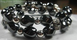 Black Magnetic Hematite and Antiqued Silver Fashion Bracelet - $15.95