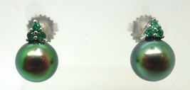 14k Gold 8.8 Tahitian Black Pearl Earrings with Emeralds (#J3639) - $930.75