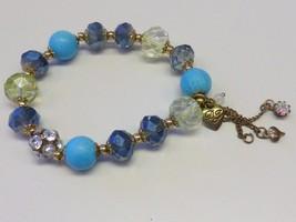 BETSY JOHNSON Crystal Rhinestone Blue Dangle Stretch Bracelet - $22.99