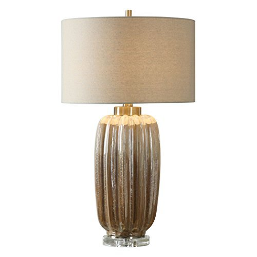 Uttermost Gistova Ivory and Rust Brown Ceramic Table Lamp