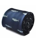Frederick Thomas Designer Mens Tie - Dark Navy Blue - Embroidered Trout ... - $12.15