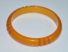 VTG Butterscotch Yellow BAKELITE TESTED Carved Stripe Bangle Bracelet - $198.00