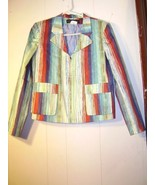 """""""Harve Benard"""" multi-colored cotton zipper top..Size 8 - $14.99"""