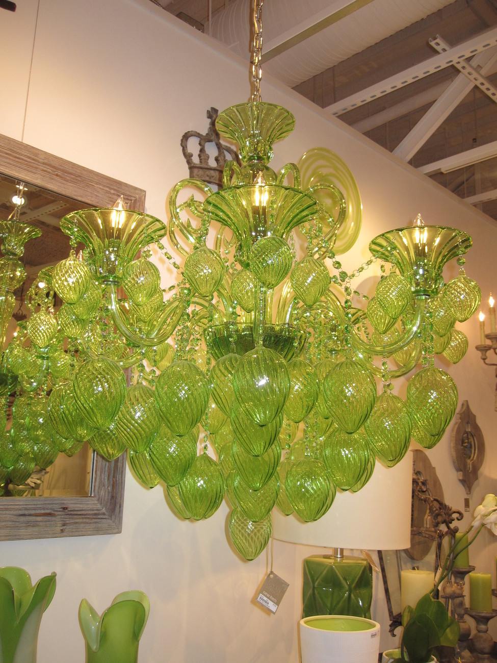 GREEN GLASS & CRYSTAL CHANDELIER, 8 Light, Murano STYLE ...