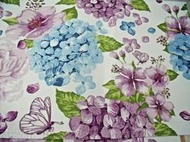 "NEW Set 4 Blue Purple HYDRANGEA FLOWERS  PLACEMATS 13"" X 19"" Fabric REVE... - $19.75"