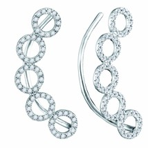 10kt White Gold Womens Round Diamond Circle Climber Curved Earrings 1/3 Cttw - $360.00