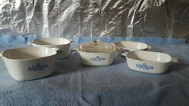 5 Vintage Corning Ware Blue Cornflower Casserole Dishes 3 sizes, 1 lid fits all  - $36.37