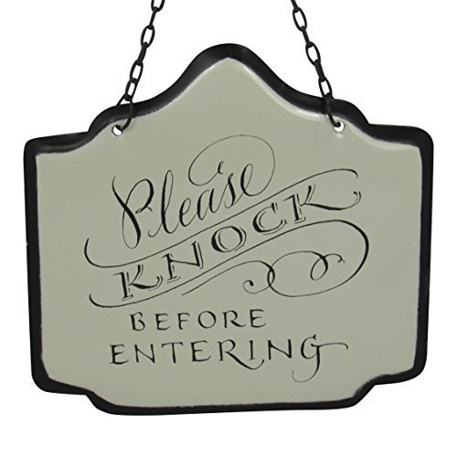 America Retold White Enamel Newlyweds Door Knob Sign Please Knock Before Enterin