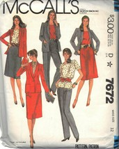 McCALL'S PATTERN 7672 DATED 1981 SIZE 12 MISSES' JACKET TOP SKIRT PANTS ... - $3.90